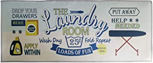 "ZOVSON Loads of Fun Laundry Room Floor Rug Farmhouse Washhouse Mat for Wash Room Non Skid Kitchen Floor Mat Non-Slip Rubber Area Rug 20"" x 47"""