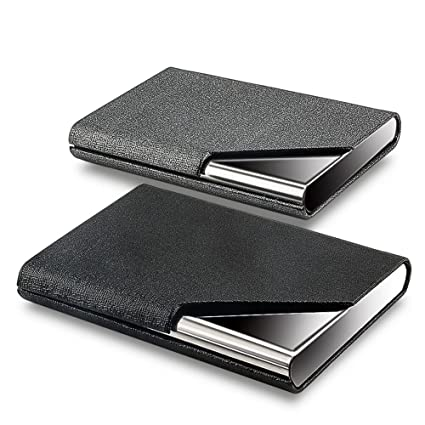 kisswill business card holder 2 pack pu leather business card case with magnetic shut for - Amazon Business Card Holder