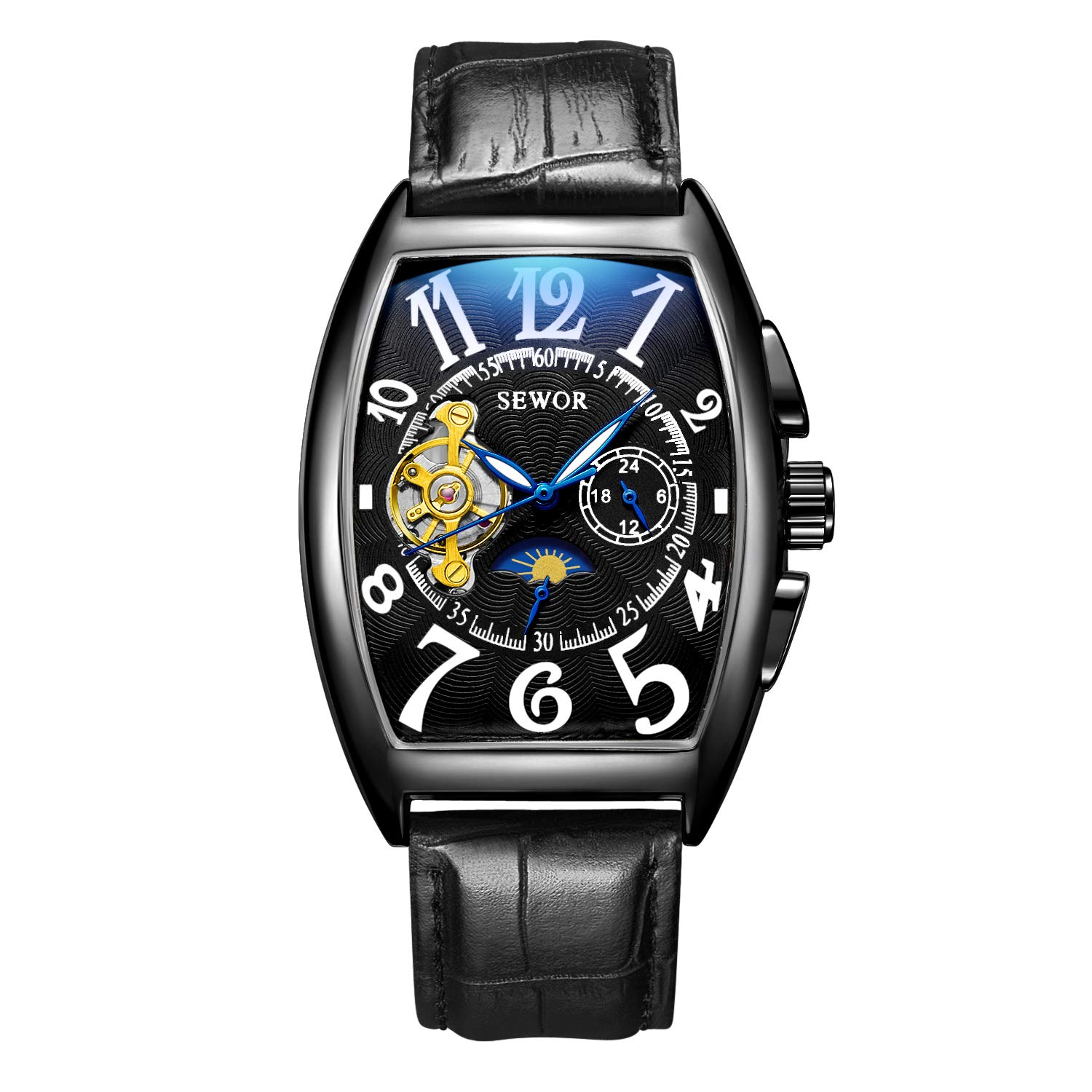 Watches Analytical Cool Brand Fashion Double Tourbillon Mechanical Watches Self-winding Leather Strap Mens Dress Wrist Watch Roman Moon Phase Watch Mechanical Watches