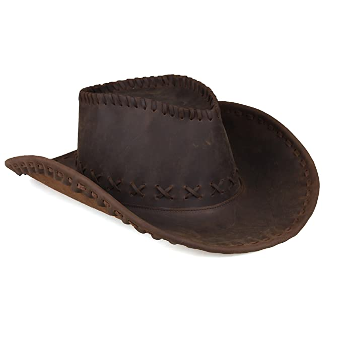 Kissloves Men s Western Cowboy Genuine Leather Adjustable Ranch Outback Hat f26fcfae6f4