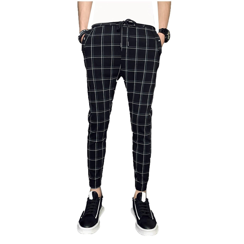 YUSKYMen Classic Plaid Vogue Trousers High Waist Harem Tenths Pants