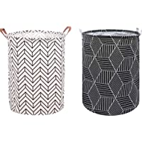 """2 Pack 19.7"""" Large Printed Foldable Laundry Hamper Bag Laundry Basket Sorter, Canvas Fabric Storage Basket Bin Home…"""