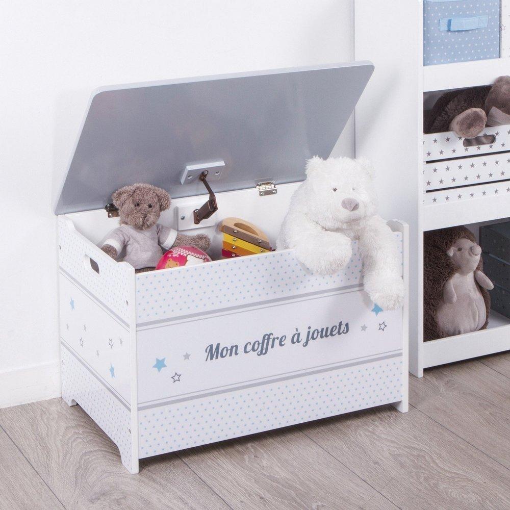 Baúl de juguetes de madera - Motivo Estrellas - Color GRIS y BLANCO ATMOSPHERA