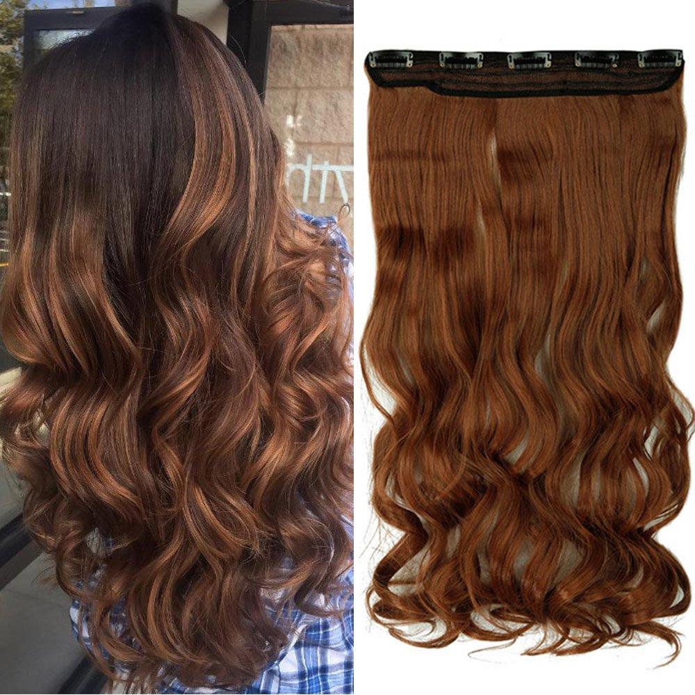 17 Inch 43cm One Piece Clip Hair Extension Capelli Lunghi Veri Mossi [Rosso Scuro] Fascia Unica con 5 Clip Ondulati 3/4 Full Head 120g Lady Outlet Mall