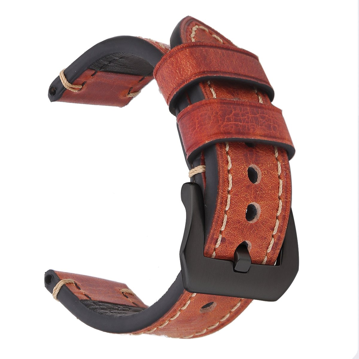 EACHE Leather Handmade 20mm Watch Band Red Brown-Black Hardware
