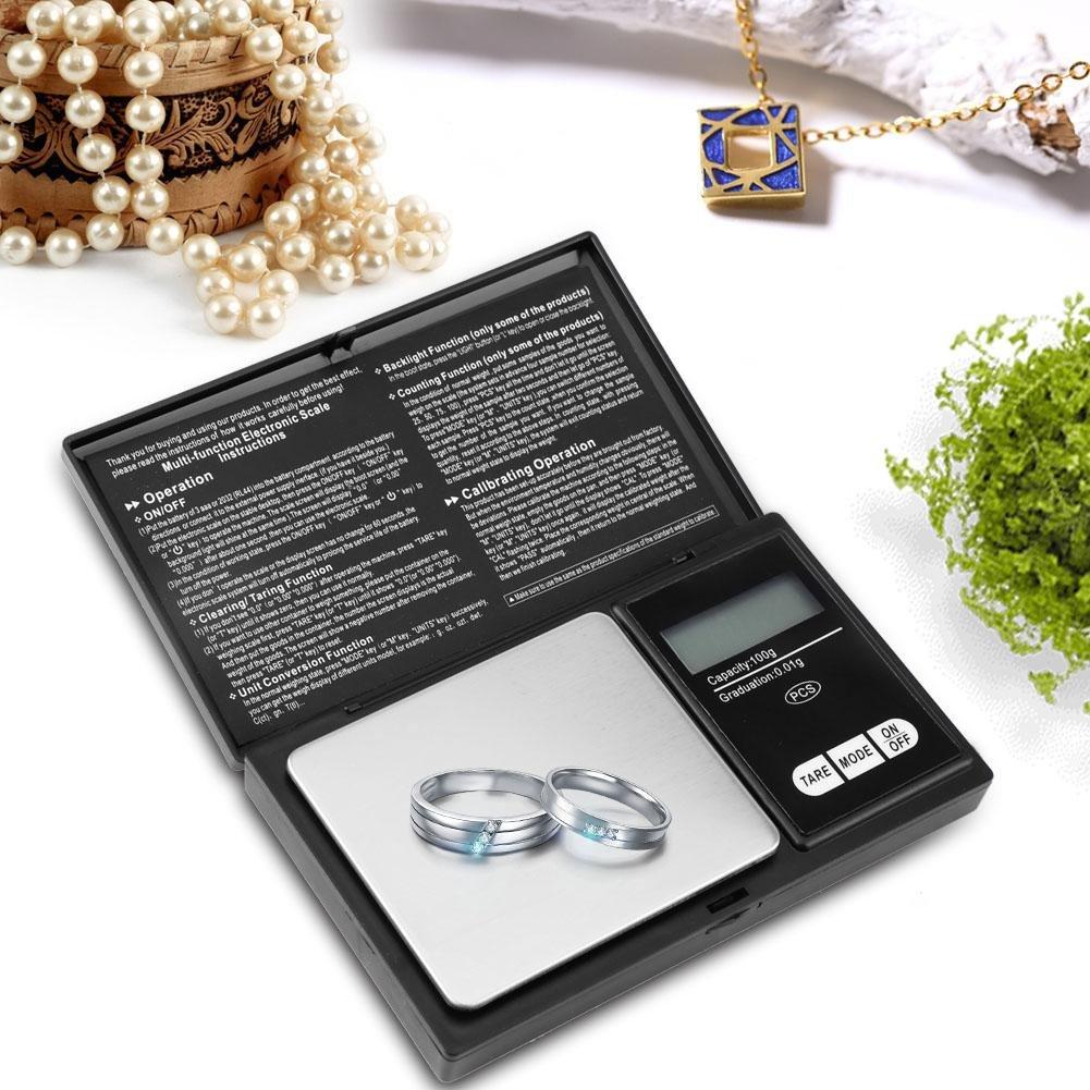 100g//0.01g Balanza Electr/ónica Inteligente Balanza de Bolsillo Digital Akozon Digital Mini Scale Bascula de Joyer/ía de Bolsillo
