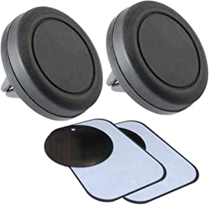 Magnetic Phone Holder for Car 2 Pack – Universal Magnet Mount Auto Vent Holders for iPhone Samsung LG Smartphones and More