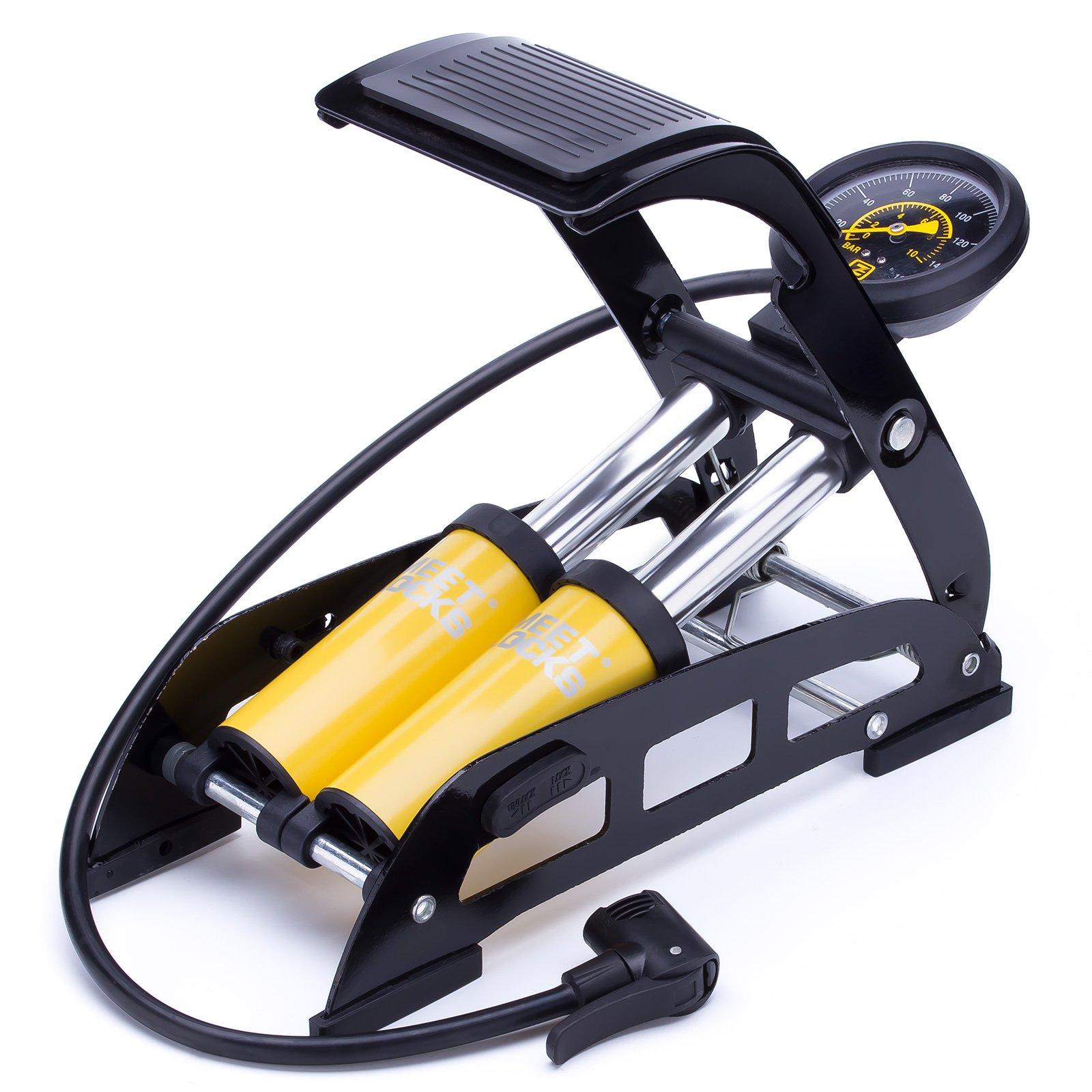 MEETLOCKS Bike Foot Pump,160PSI Aluminum Body Bike Floor Air Pump Accurate Pressure Gauge Smart Valve Head Presta,Schrader & Deutschland Valve