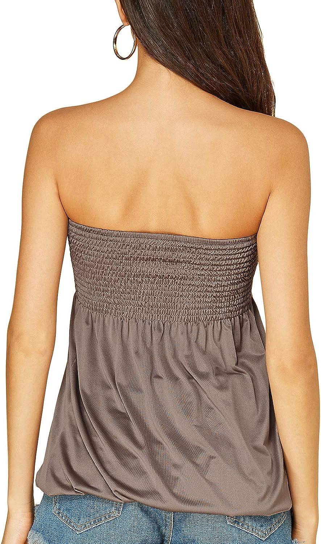 YOINS Womens Strapless Pleated Tube Top Sleeveless Tank Tops Shirt Blouse Tanks Camis Tanks Camis Blouse