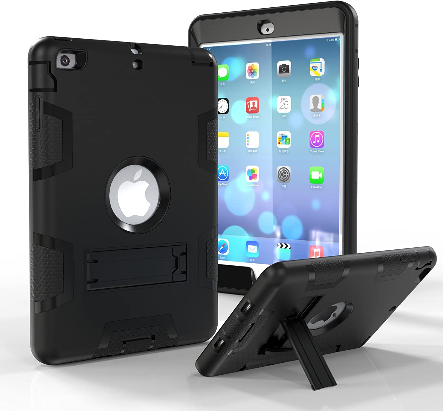 iPad Mini Case, iPad Mini 2 Case,iPad Mini 3 Case, Dooge Three Layers PC&Silicon Armor Defender Heavy Duty Shockproof Rugged Hybrid Full Body Protective Case with Kickstand for Apple iPad Mini 1 2 3