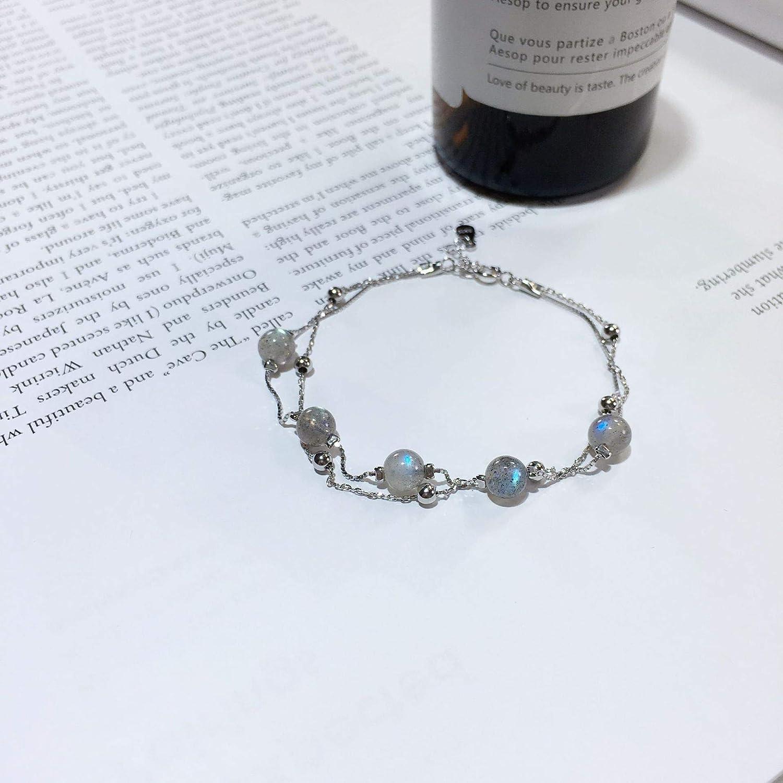 Pulsera doble de piedra de luna chapada en plata de ley 925, platino con bola, modelo hermoso que se puede dejar a otros puede.
