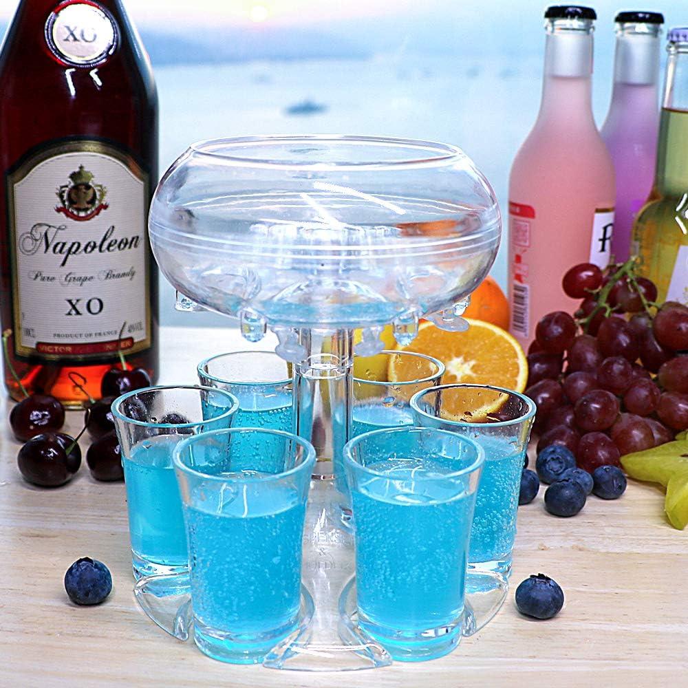 Six Shot Glass Dispenser Holder 6 Shot Dispenser for Shot Glasses Alcohol Liquor Beverage Dispenser Party Bar Accessories for Drinks (Transparent&6Transparent cups)