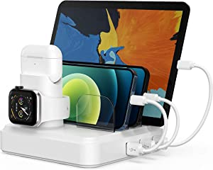Charging Station for Multiple Devices, 5-Port Charging Dock with 4 Mixed Cables, UL Listed USB Charging Station Compatible with iWatch, AirPods, Smart Phone(No Watch Charger)