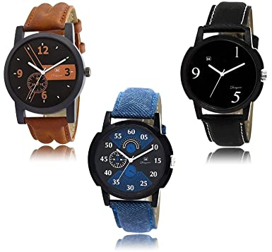 542442142709 Buy Om Designer Analogue Black Dial Men s   Boy s Watch Leather Strap Combo  Pack of 3 Online at Low Prices in India - Amazon.in