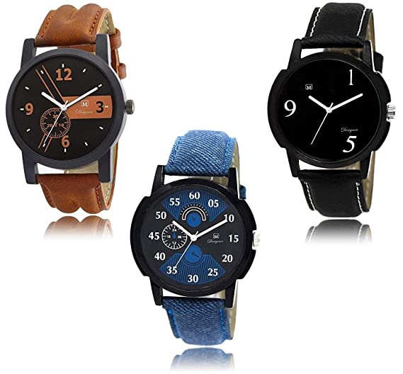 6ab7ff6ba Buy Om Designer Analogue Black Dial Men s   Boy s Watch Leather Strap Combo  Pack of 3 Online at Low Prices in India - Amazon.in