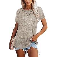 FFENYAN Women Short Sleeve Crewneck Tee Shirt Cute Whale Watermelon Graphic Tees Soft Comfy Casual Summer Basic Tops Blouse
