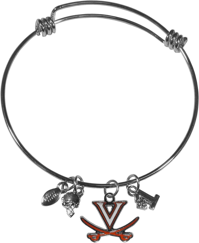 NCAA Siskiyou Sports Womens Virginia Cavaliers Dangle Earrings and Charm Bangle Bracelet Set One Size Team Color