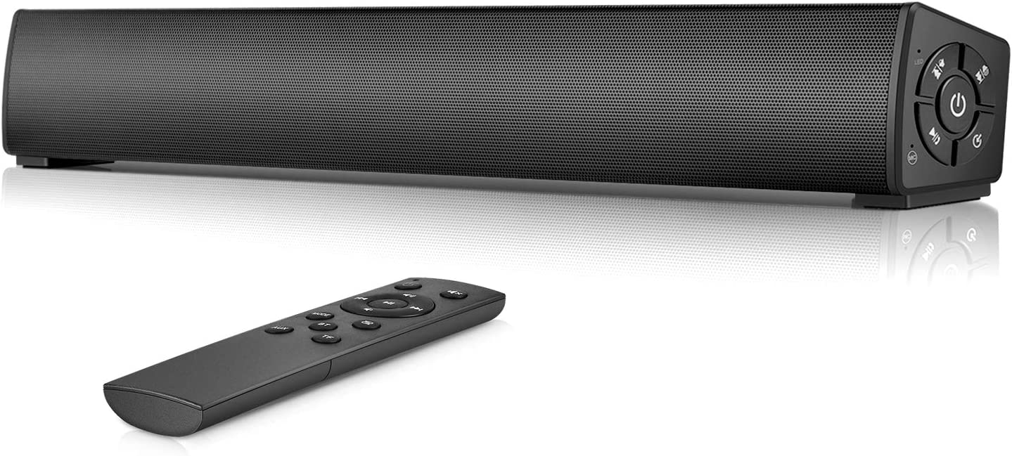 PC Soundbar, Wired & Wireless Home Theater Audio Stereo Sound Bar, Rechargeable Bluetooth Speakers, Portable Mini Soundbar with Remote Control for PC, Desktop, Smartphone, Tablet (RCA, AUX)