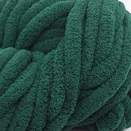 6bdf10b31be Image Unavailable. Image not available for. Color  1KG Green Super Chunky  Chenille Yarn for Extreme Arm Knitting ...