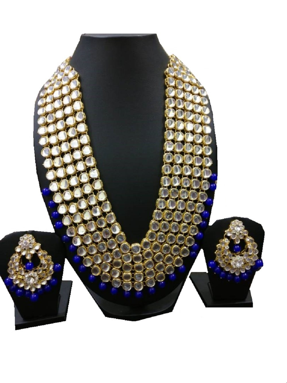 VVS Jewellers Indian Bollywood Style Ethnic Gold Plated Blue Pearls Shining Kundan Bridal Jewellery Set Fast Delivery