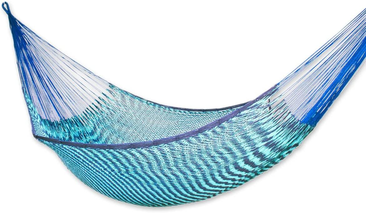 NOVICA Sustainable Cotton Blue Rope Hammock Riviera Sapphire Double