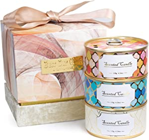 CHAMBERY Aromatherapy Candle Gift Set - 3 Natural Soy Candles, Cute Stress Relief Relaxing Tin Can Candle Set, 12.6 Oz (4.2oz x 3), Birthday Candle Gifts for Women