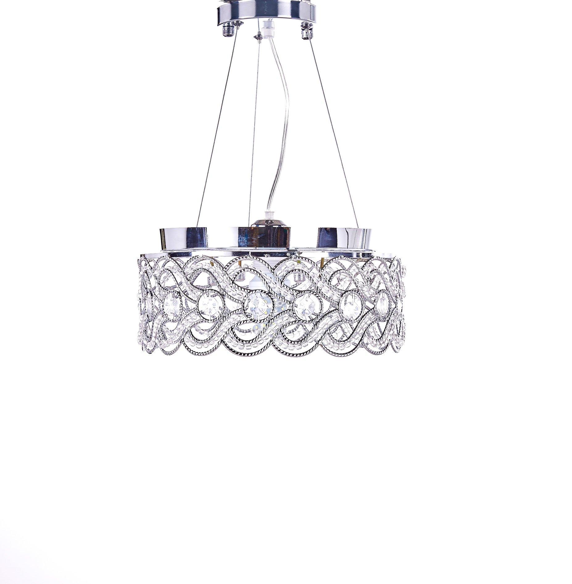 SwanHouse Flush Mount Pendant Ceiling Lighting Chandelier Silver Modern Lamp KPP W15 x H9 by SwanHouse (Image #1)