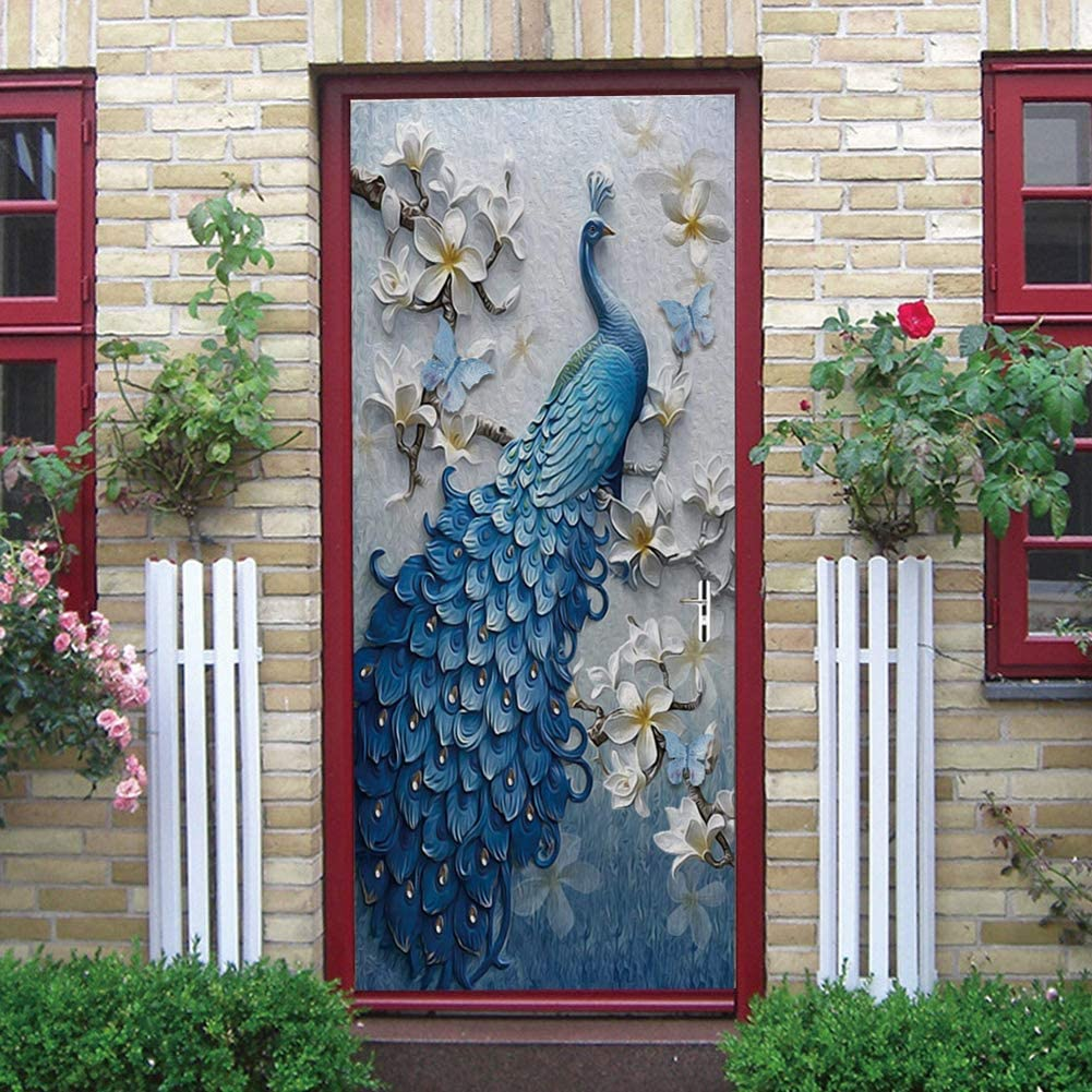 """ChezMax Artistic 3D Door Stickers PVC Mural Wallpaper Wall Sticker Removable Self Adhesive Wall Window Decal for Home Office Decoration Blue Peacock Pattern 30.3""""W 78.7""""H"""
