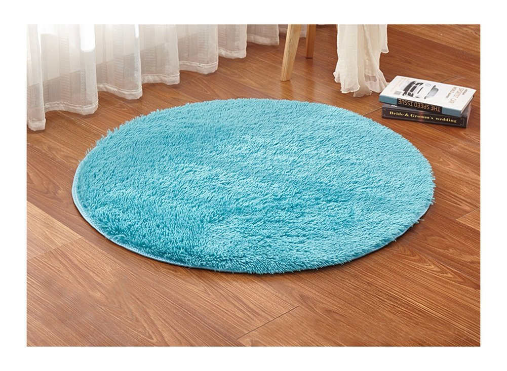 Ultra Soft Round Shaped Bedroom Carpet,Decorative Living Room Shaggy Area Rug,Fluffy Kids Playing and Yoga Mat with Anti-Slip Bottom (Blue,47'') by KAMA BRIDAL