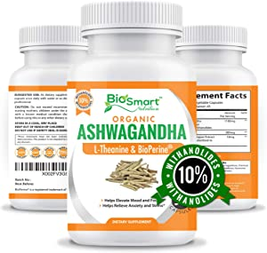 Organic Ashwagandha Capsules 1300mg Made with Organic Ashwagandha Root Extract 10% Withanolides, L-Theanine & Black Pepper-Stress Relief-Mood Enhancer-Anti Anxiety Supplement-Thyroid Support-90 Caps