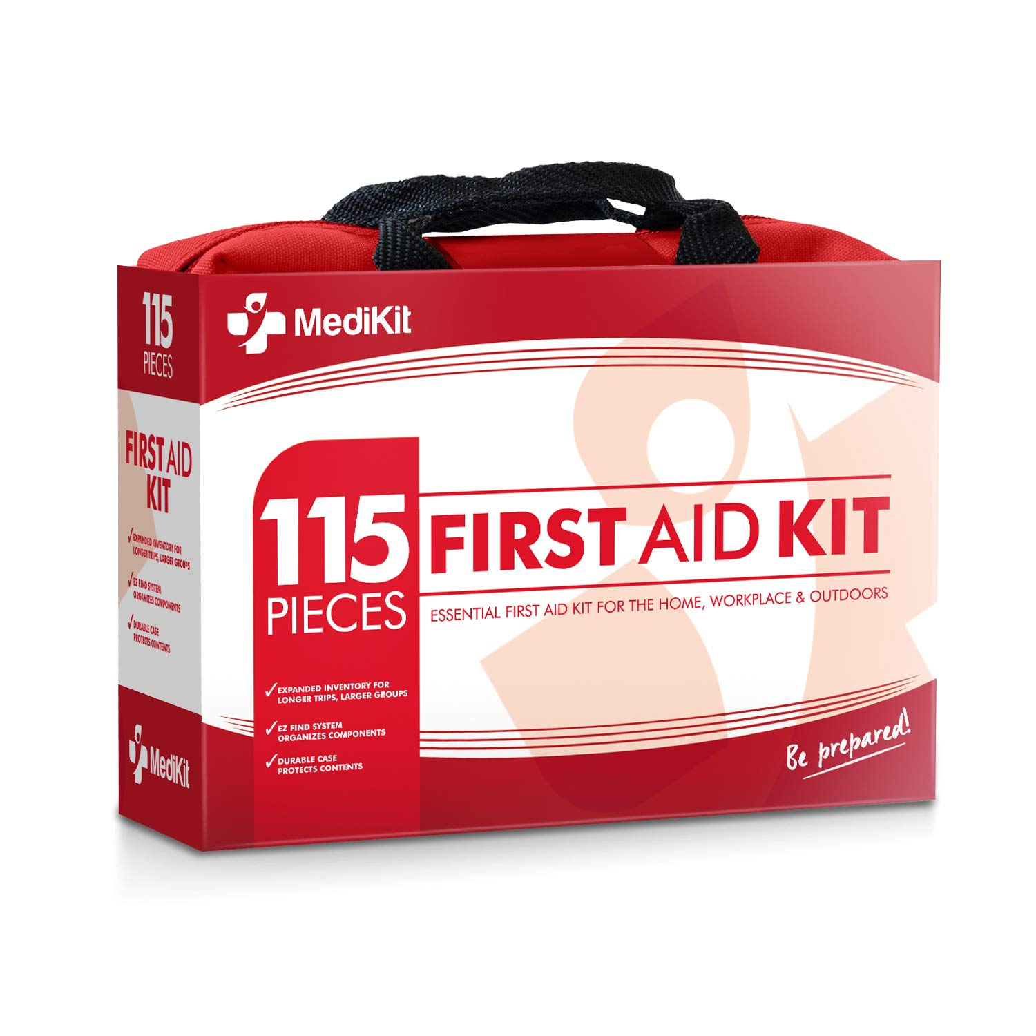 MediKit Deluxe First Aid Kit (115 Items) The Most Essential First Aid Supplies for Home, Sports, Travel, Camping, Office and The Workplace ... (Red) by MediKit
