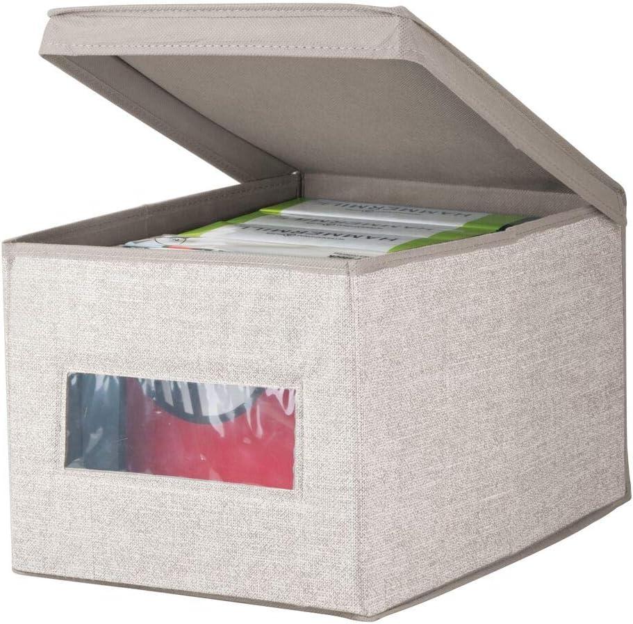Caja para organizar con ventana transparente y mucho espacio de guardado mDesign Juego de 2 organizadores de oficina Cajas organizadoras con tapa para l/ápices anotadores y otros art/ículos Gris