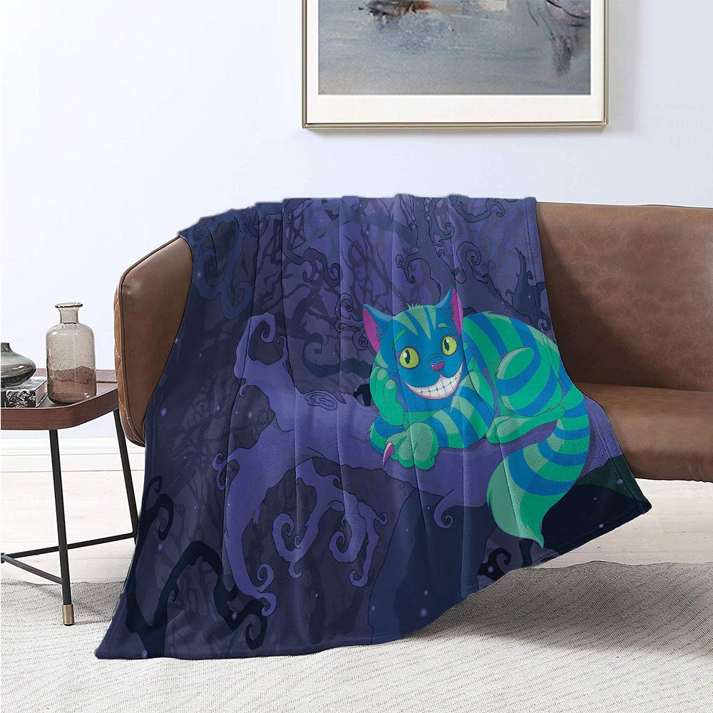 Jecycleus Alice in Wonderland, Throw Blanket, Chester Cat Sitting on Branch Fairytale Forest Character, Digital Printing Blanket 60x36 Inch Green Blue Purple