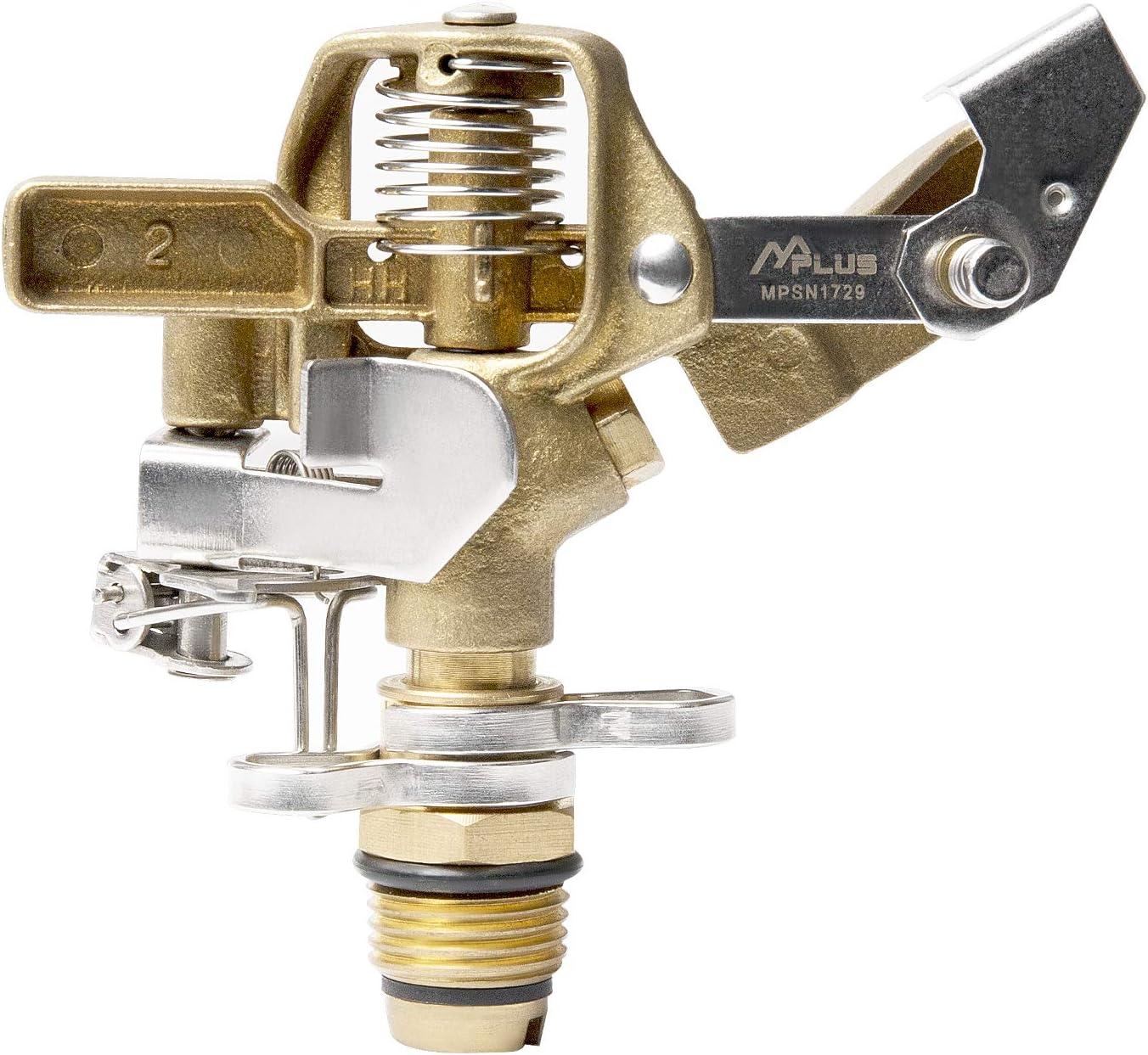 M PLUS Heavy Duty Brass Impact Sprinkler Adjustable Coverage Pattern Spray Distance Spray Flow for Garden Lawn