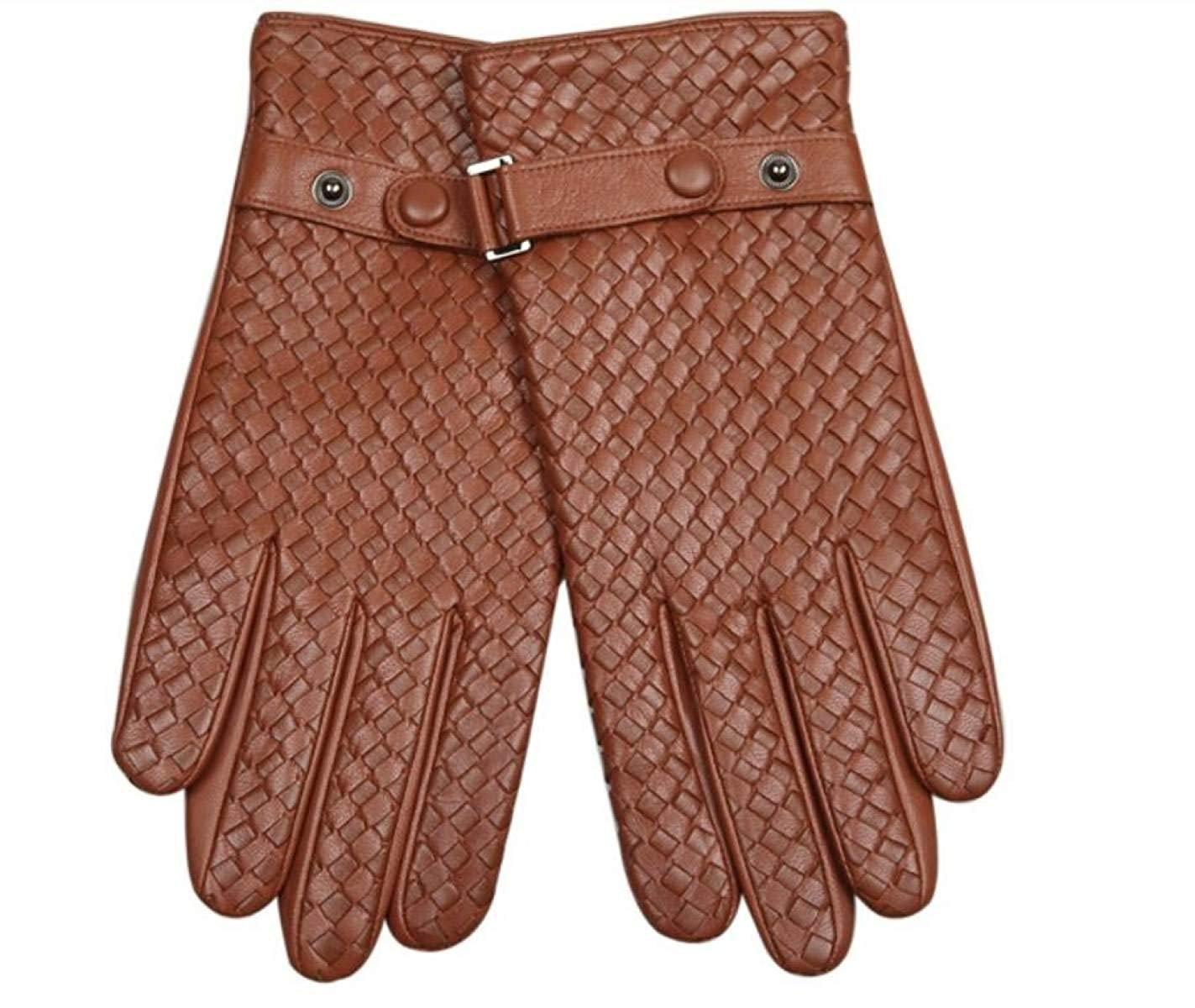 CWJ Men's Suede Leather Gloves Weaving Winter Warmth,Brown,Medium