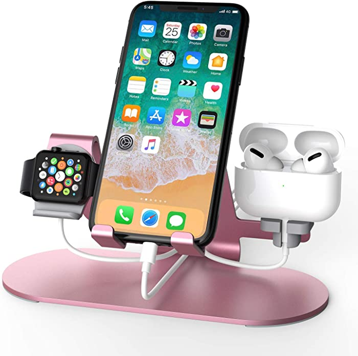 3 in 1 Aluminum Charging Station for Apple Watch Charger Stand Dock for iWatch Series 4/3/2/1,iPad,AirPods and iPhone Xs/X Max/XR/X/8/8Plus/7/7 Plus /6S /6S Plus(Rose Gold)