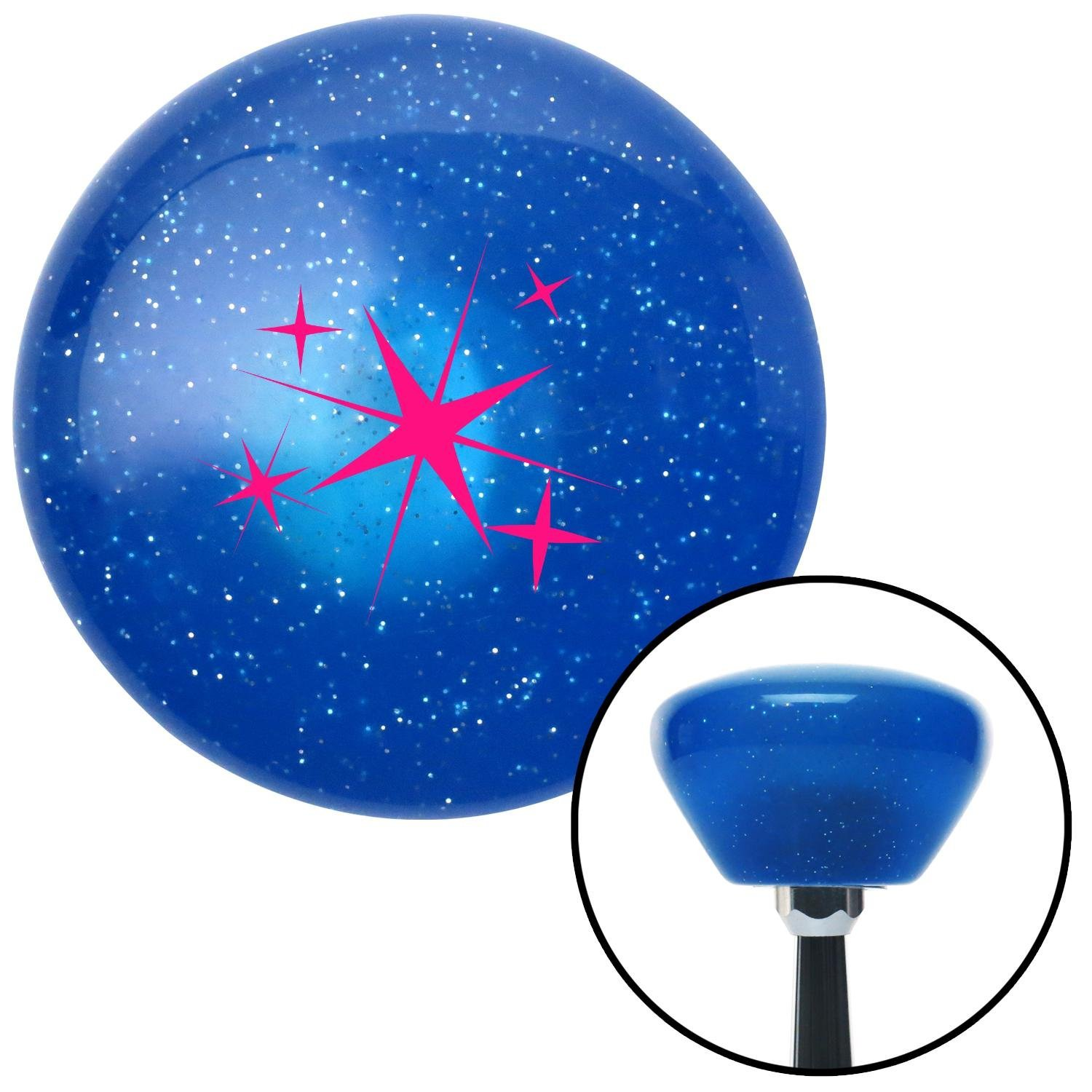 American Shifter 188329 Blue Retro Metal Flake Shift Knob with M16 x 1.5 Insert Pink Abstract Stars