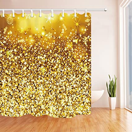 Image Unavailable Not Available For Color QCWN Gold Glitter Shower Curtain