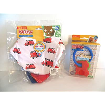 Baby Teething Bibs BOY + Chewy Charms Gift Set by Nuby : Baby
