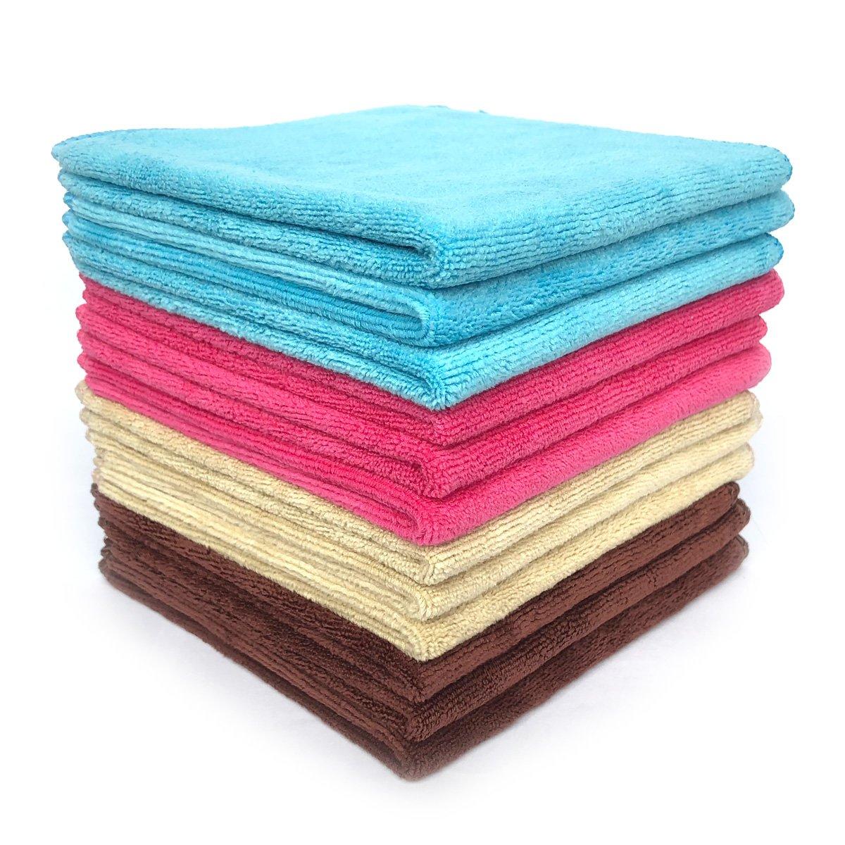 Multi-purpose Microfiber Cleaning Cloths Washcloths 12 Pack (Multi)