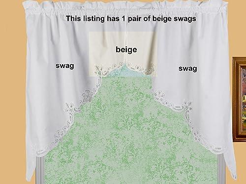 Creative Linens Battenburg Lace Kitchen Curtain 38 L Swags Ecru Beige