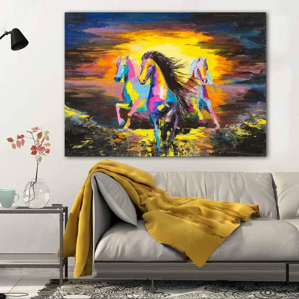Caballo animal cuadro lienzo pintura pintura graffiti pared arte sala pintura al óleo lienzo pintura sin marco A 20x30cm