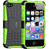 Case For iPhone 4S , Armor Heavy Duty Protection Rugged Dual Layer Hybrid Shockproof Case Protective Cover for Apple iPhone 4 4S with Built-in Kickstand (Green)