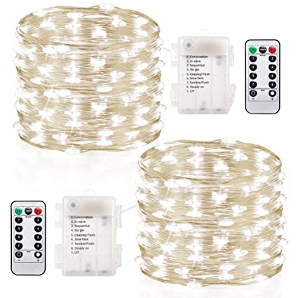 gdealer 2 pack fairy lights fairy string lights battery operated waterproof 8 modes remote control 60 - Battery Christmas Lights Amazon