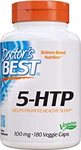 Doctor's Best 5-HTP, Promotes Healthy Sleep, Mood Support, Calm & Relaxation, Non-GMO, Vegan, Gluten Free, Soy Free, 100 Mg