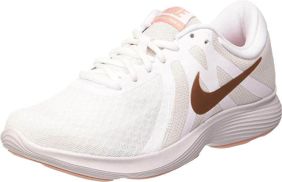 Nike Womens Revolution 4 Running Shoe, Mujer, Blanco (White/Mtlc ...