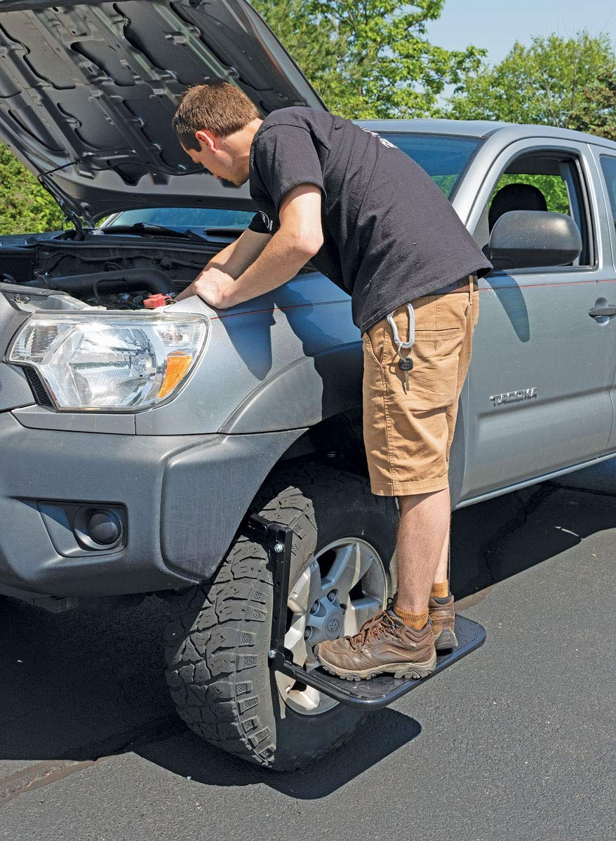 Rockwood Adjustable Tire Wheel Step Service Step Up Folding Adjustable Ladder for Full Size Truck Car SUV Heavy Duty and Folds for Easy Storage