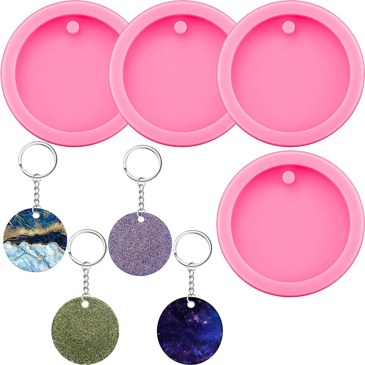 RES1004 28mm 4 Pack Round Shape Pendant Clear Silicone Mold for Resin Jewelry Pendant Making