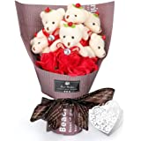 YOBANSA ソープフラワー 石鹸 花 バラ 造花 花束くま束 ベア ブーケ 可愛いぬいぐるみ (ベア6匹,花5匹) 母の日 誕生日 結婚祝い 結婚記念日のプレゼントにお勧め (ローズレッド)