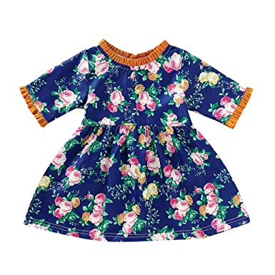 Baby Girls Ruffle Sleeve Round Neck Midi Dress Plaid Floral Print Tutu Skirt Party Princess Outfit Clothes